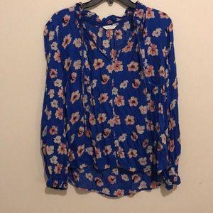 floral blue blouse
